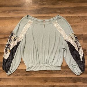 Free People Light Blue Puffy Patchwork Long Sleeve